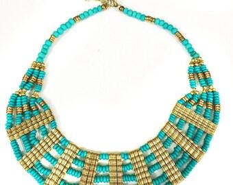 Turquoise Bib Necklace,Bib Necklace,Statement Jewelry,Wedding Jewelry,Summer Statement Necklace by Taneesi