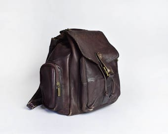Large Brown Leather Wilson's Backpack