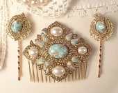 SET Turquoise Ivory Pearl Gold Bridal Hair Comb & Pins, Vintage 1920s Art Deco Antique Gold Aqua Blue Dress Sash Brooch Headpiece Bobby Rose