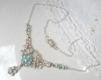 Vintage Art Deco Aqua Blue & Clear Pave Rhinestone Bridal Necklace, Antique 1920s Turquoise Crystal Statement, Silver Gatsby Wedding Jewelry