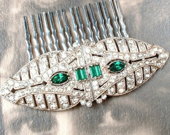 OOAK 1920s Emerald Green Bridal Hair Comb,  Antique Art Deco Wedding Dress Clips to HeadPiece, Pave Rhinestone Vintage Gatsby Jewelry 20s