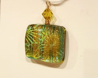 Chartreuse Yellow Dichroic Fused Glass Pendant with Gold Filled Wire Wrap - Cyberlily
