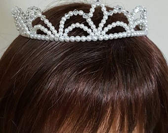 Pearl Crystal Tiara Crown Communion Miniature Bride Child Headpiece Veil Quinceanera Pageant