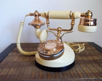Vintage French Style Rotary Dial Telephone Ivory White and Gold