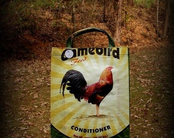 Rooster Tote, Rooster Bag, Feedsack Tote, Chicken Feed Bag, Grocery Bag, Market Tote, Recycled Feed Bag, Feedsack Bag, Feed Sack Bag, Feed