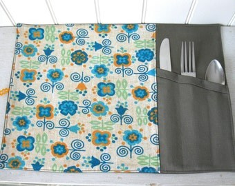 Placemat Lunch with Ustentils Section for School or Lunch Office,Travel Roll up Placemat, Reusable  ... 100% coton and serge