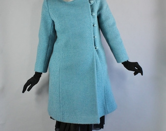 Vintage 60s 1960s Sky Blue Boucle Heavy Weight Wool High Quality Mink Fur Collar Russian Princess Long Formal Dress Coat