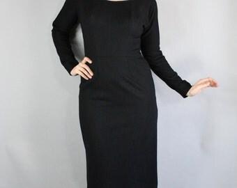 50s Black Wiggle Dress, Little Black Dress, vlv, Knee length, Mad Men, Cocktail Party, Secretary, Marilyn Monroe, Medium. FREE SHIPPING
