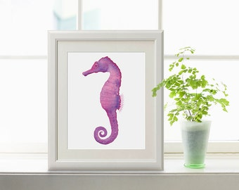 Pink and Purple Seahorse Watercolor Print, Seahorse Print, Seahorse watercolour,  Seahorse painting, Ocean Art, Sea Creatures, Beach Decor