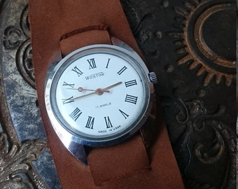Vintage wrist watch Vostok mens watch watch mens watch white watch, classic genuine leather, watch, wrist band bracelet brown leather