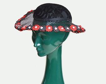 Vintage 70s Wide Brim Sun Hat / 1970s Burnout Velvet Floral Print Red Black White Hat