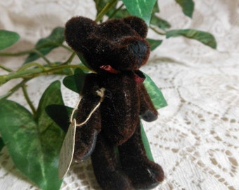 """2 1/2"""" Brown Jointed Boyd's Bear with Label T. F. Wuzzies Vintage at Quilted Nest"""