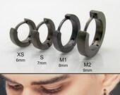 Men's black huggie hoop earrings, black spectrum, hoop earrings for guys, small hoop earrings for cartilage