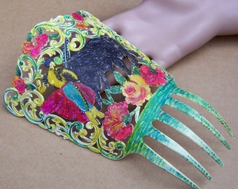 Vintage Spanish mantilla comb with figural matador celluloid comb headdress headpiece decorative comb