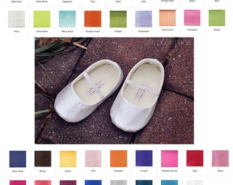 Baby Girl Shoes Satin Toddler Girl Shoes Ivory Soft Soled Shoes Wedding Shoes Pink Easter Shoes Flower Girl Shoes LOTS OF COLORS - Jane