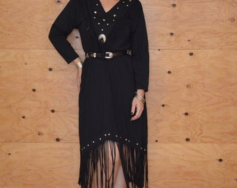 Vintage 80's Black Cotton Jersey Studded South Western Fringe Dress Size Medium