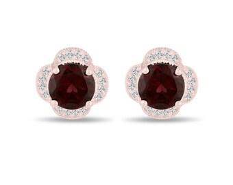 4.02 Carat Garnet Cluster Earrings, Diamond Flower Stud Earrings 14K Rose Gold Halo Pave Handmade Unique