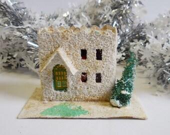 Vintage Putz House Christmas White salt block home white snow glitter  tree light up miniature ornament
