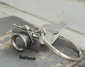 Click - camera & custom stamped metalwork key ring, photography or photographers keychain