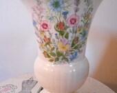 VIntage British Aynsley Tudor Rose Botanical Patterned Bone China Vase