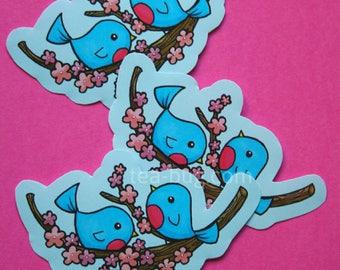 Blue birds on cherry blossoms sticker - cute cartoon handcut paper stickers for decoration & scrapbooking