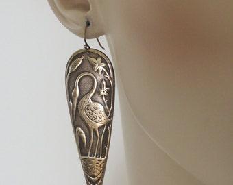 Vintage Earrings - Art Deco Earrings - Statement Earrings - Heron Jewelry - Bird Earrings - Vintage Brass Earrings - Boho - handmade jewelry