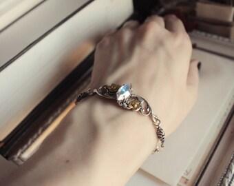 Aged Silver & Raw Brass Bracelet - Swarovski - Crystal - Rainbow - Gold - Flowers - Winter - February - Valentines Day - Wedding - Bridal