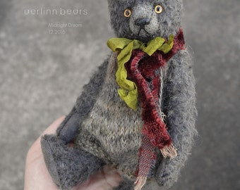 Midnight Dream, Grey Mohair Artist Teddy Bear from Aerlinn Bears