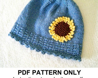 Hat Knitting Pattern - Girls Sunflower Hat Pattern - the IZZY Hat (Newborn, Baby, Toddler, Child & Adult sizes incl'd)