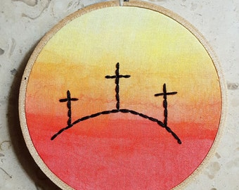 Watercolor Ombre Sunset Silhouette Crosses Embroidery Hoop, Lent Art, Christian Wall Decor, Holy Week Family Altar, Colorful Christian Decor