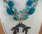 Western Cowgirl Statement Necklace Set - Chunky Dark Turquoise Howlite - Hand Painted Desert Lizard