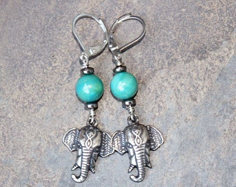 Elephant Earrings, Ceramic Earrings, Turquoise Earrings, Silver Earrings, Elephant Jewelry, Ganesha Earrings, Handmade Earrings, For Her