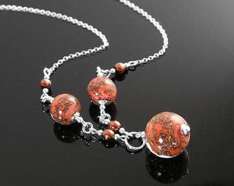 Murano Glass Coral Necklace, Sterling Silver Necklace, Authentic Venetian Glass Necklace, Pink Coral Pendant Necklace Copper Murano Jewelry