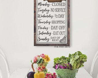 Personalized Kitchen Sign |Open Hours | Kitchen Wall Decor | Rustic Sign |Farmhouse Decor |Kitchen Wall Art| Large Framed Sign| custom sign