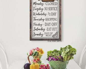 Kitchen Rules Sign |Open Hours | Kitchen Wall Decor | Rustic Kitchen Sign |Farmhouse Decor |Kitchen Wall Art| Large Framed Sign| custom sign