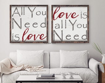 All You Need Is Love Sign | Extra Large Wood Signs| Handmade Wood Signs|Rustic Wall Art | Wedding  Gift| Living Room Sign|  Wall Hangings