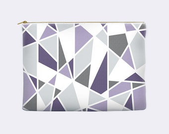 Purple cosmetic bag, geometric zippered pouch, modern pencil case, lavender, toiletry bag, cosmetic pouch, makeup bag, small clutch