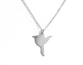 Flying Bird Necklace Silver - Gift for Bird Lover, Nature Lover, Woodland Jewelry, Sparrow Necklace, Gift for Her