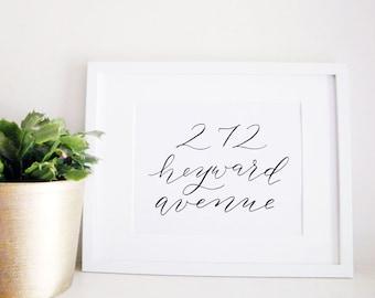 First Home Calligraphy Print - Street Address Wall Art - Gift for Newlyweds - Wedding Decor - Street Sign