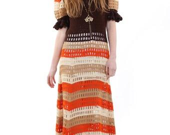 Vintage 70s Brown Crochet Stripe Maxi Dress S/M