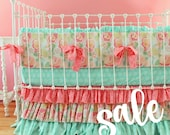 30% OFF SALE Baby Girl Crib Bedding in Mint Pink and Coral, Mint Mosaic bumper set with sheet and multi ruffle skirt.