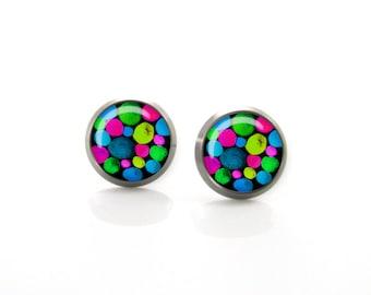 Merry and Bright Pom poms Unique hand draw Titanium Post Earrings | Hypoallergenic Earring Stud | Titanium Stud Sensitive jewelry post