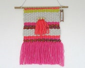Woven Wall Hanging Weave Weaving Pink Orange Grey Lime Wall Decor