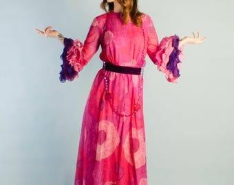 Vintage 1960's Chiffon Sleeve Flounce Dress