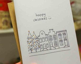 Happy Christmas card - set of 5 -print version - design by ZIZOlabel - blackandwhite