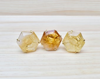 Asteria/// Large Citrine Hexagon Gold Adjustable Statement Ring/ Yellow Citrine Crystal Mineral Gem Gemstone Gold Stone (EP-RHS10-CT)
