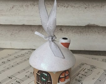 Christmas Cottage Decoration ~ wood turned and hand painted