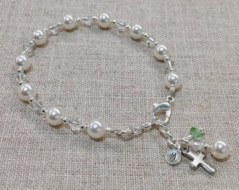 First Communion Bracelet Swarovski Elements with Cross, Sterling Silver Personalized Initial Charm, and Birthstone Charm