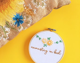 Namastay In Bed Hand Embroidery Wall Hoop