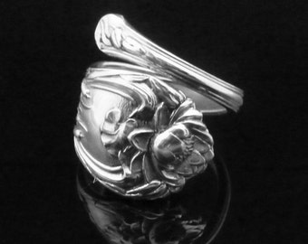 Floral Ornate Sterling Silver Wrapped Spoon Ring